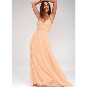 Lulu's Madalyn Blush Lace Maxi Dress size Small